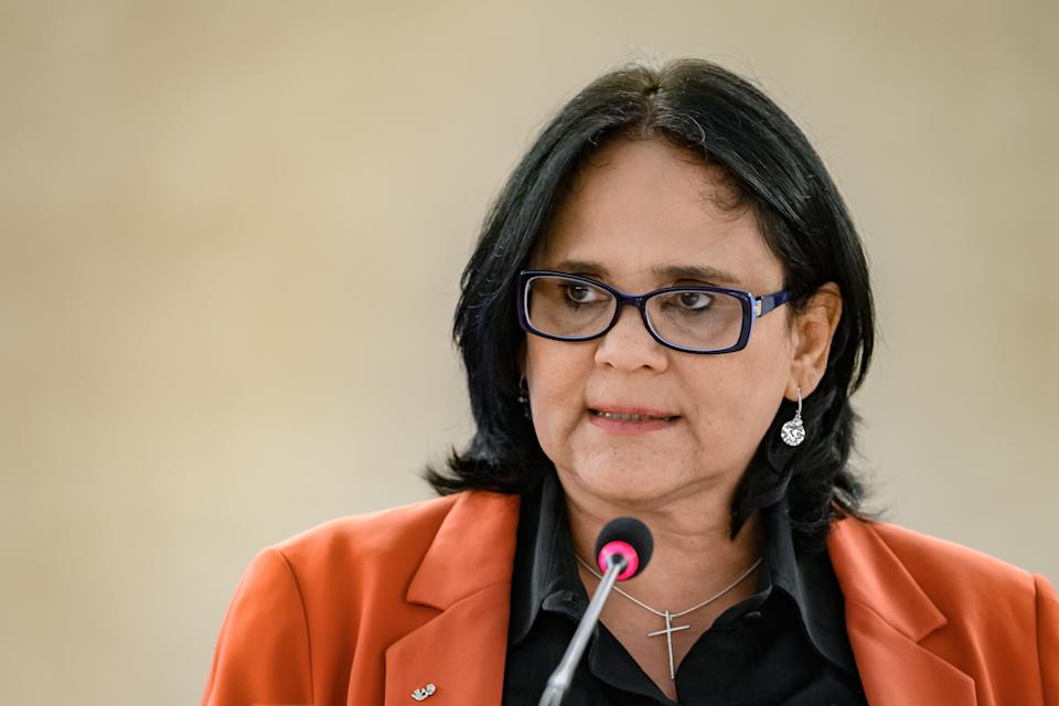 Brazilian Minister of Women, Family and Human Rights, Damares Alves delivers a speech at the opening of the UN Human Rights Council's main annual session on February 24, 2020 in Geneva. (Photo by Fabrice COFFRINI / AFP) (Photo by FABRICE COFFRINI/AFP via Getty Images)