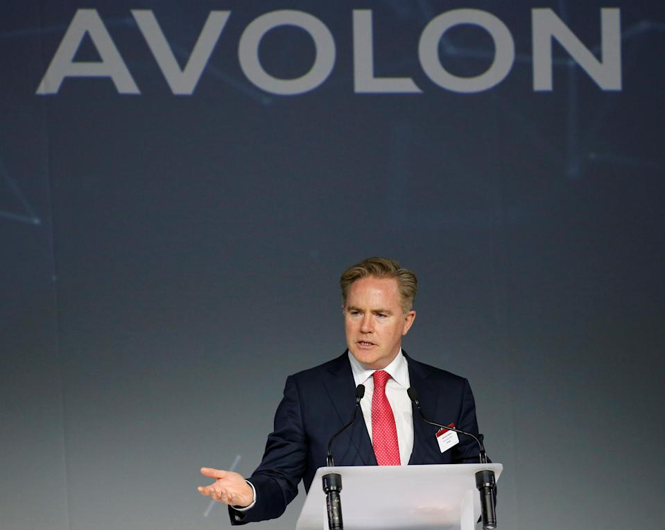 Domhnal Slattery, CEO of Avolon, delivers a speech during the delivery of the first A330neo commercial passenger aircraft for TAP Air Portugal airline at the Airbus delivery center in Colomiers