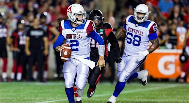 Johnny Manziel was placed under concussion protocol by the Montreal Alouettes. (Getty)