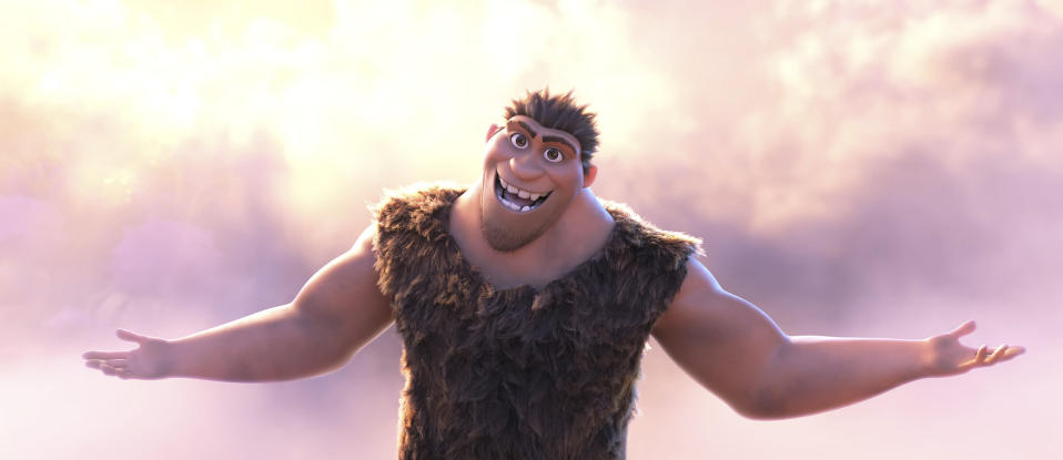 "This image released by DreamWorks shows Grug Crood, voiced by Nicolas Cage, in a scene from the animated film ""The Croods: A New Age."" (DreamWorks Animation via AP)"