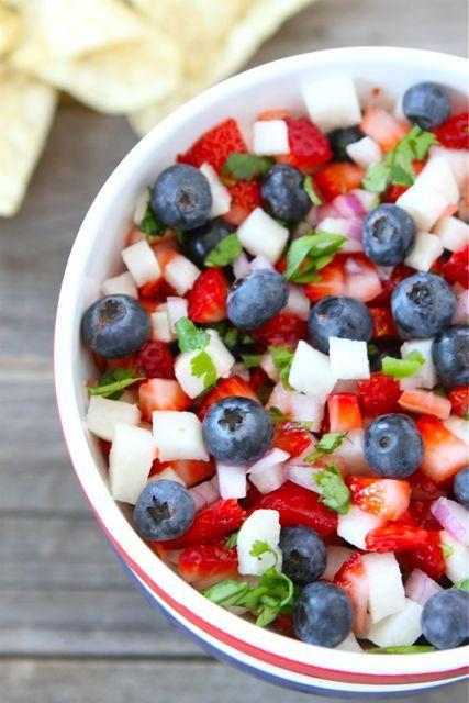 Blueberry, strawberry & jicama salsa (two peas and their pod)