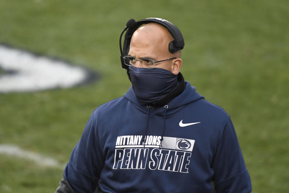 Penn State head coach James Franklin walks the sideline during the first quarter of an NCAA college football game against Iowa in State College, Pa., on Saturday, Nov. 21, 2020. (AP Photo/Barry Reeger)