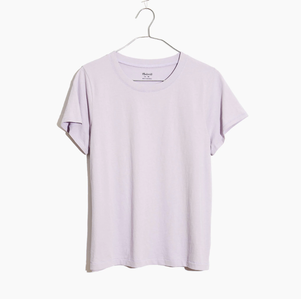 """<p><strong>Madewell</strong></p><p>madewell.com</p><p><strong>$14.50</strong></p><p><a href=""""https://go.redirectingat.com?id=74968X1596630&url=https%3A%2F%2Fwww.madewell.com%2Fnorthside-vintage-tee-J8526.html&sref=https%3A%2F%2Fwww.womenshealthmag.com%2Flife%2Fg33822690%2Fcheap-christmas-gifts%2F"""" rel=""""nofollow noopener"""" target=""""_blank"""" data-ylk=""""slk:Shop Now"""" class=""""link rapid-noclick-resp"""">Shop Now</a></p><p>You can really never go wrong with a simple tee. It baaasically goes with everything, and you can even pair it with a not-that-expensive piece of jewelry to make it look like you really went all in. </p>"""