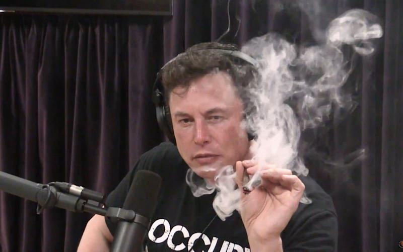 Mr Musk smoked the drug during an appearance on the Joe Rogan Experience show in September last year - Joe Rogan Experience/YouTube