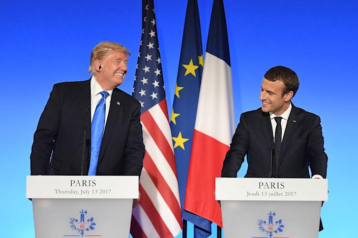 <p>President Donald Trump (L) and French President Emmanuel Macron (R) hold a press conference following meetings at the Elysee Palace in Paris, on July 13, 2017. (Photo: Alain Jocard/AFP/Getty Images) </p>