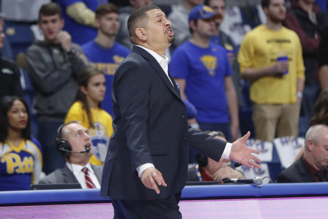 Pittsburgh coach Jeff Capel talks to players during the first half of the team's NCAA college basketball game against Binghamton, Friday, Dec. 20, 2019, in Pittsburgh. Pittsburgh won 79-53. (AP Photo/Keith Srakocic)