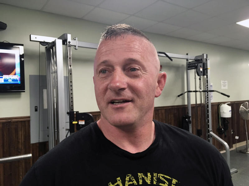 FILE - In this May 15, 2018 file photo, Richard Ojeda talks at a gym in Logan, W.Va. Former Army Maj. Richard Ojeda says his West Virginia congressional campaign was derailed by a Department of Veterans Affairs employee who's charged with leaking medical records. The former Democratic state senator and one-time presidential hopeful filed suit against the VA on Thursday, Aug. 22, 2019. (AP Photo/John Raby, File)