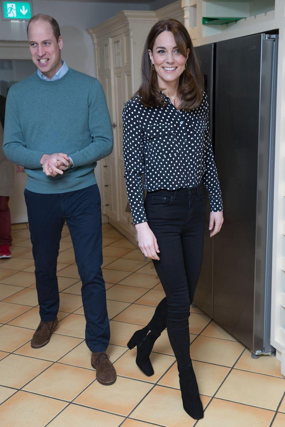 """<p>Kate wore a black and white polka dot Equipment blouse (shop it <a href=""""https://www.shopbop.com/slim-signature-blouse-equipment/vp/v=1/1573086384.htm?gclid=Cj0KCQiAwP3yBRCkARIsAABGiPop3wYaPYcp5n-przPOBRHqnLAnOhdfXzQbXB0HzgXMK4WyJwJtJ8MaApHeEALw_wcB¤cyCode=USD&extid=SE_froogle_SC_usa&cvosrc=cse.google.EQUIP41183&cvo_campaign=SB_Google_USD&ef_id=Cj0KCQiAwP3yBRCkARIsAABGiPop3wYaPYcp5n-przPOBRHqnLAnOhdfXzQbXB0HzgXMK4WyJwJtJ8MaApHeEALw_wcB:G:s&extid=affprg_linkshare_SB-TnL5HPStwNw&cvosrc=affiliate.linkshare.TnL5HPStwNw&affuid=74968X1524972Xfe6e186d3e29a9833f4a1bd3ac0908bc&sharedid=42352&subid1=TnL5HPStwNw-adkVnSMpm.k3qN5.0hA4aw"""" rel=""""nofollow noopener"""" target=""""_blank"""" data-ylk=""""slk:here"""" class=""""link rapid-noclick-resp"""">here</a>) to visit Savannah House, a charity residential facility in County Meath, Ireland. She paired the blouse with black skinny jeans and heeled booties and topped off the look with a <a href=""""https://www.townandcountrymag.com/society/tradition/a31222370/kate-middleton-white-coat-prince-william-jigsaw-ireland-photos/"""" rel=""""nofollow noopener"""" target=""""_blank"""" data-ylk=""""slk:cream Reiss coat"""" class=""""link rapid-noclick-resp"""">cream Reiss coat</a>. </p>"""