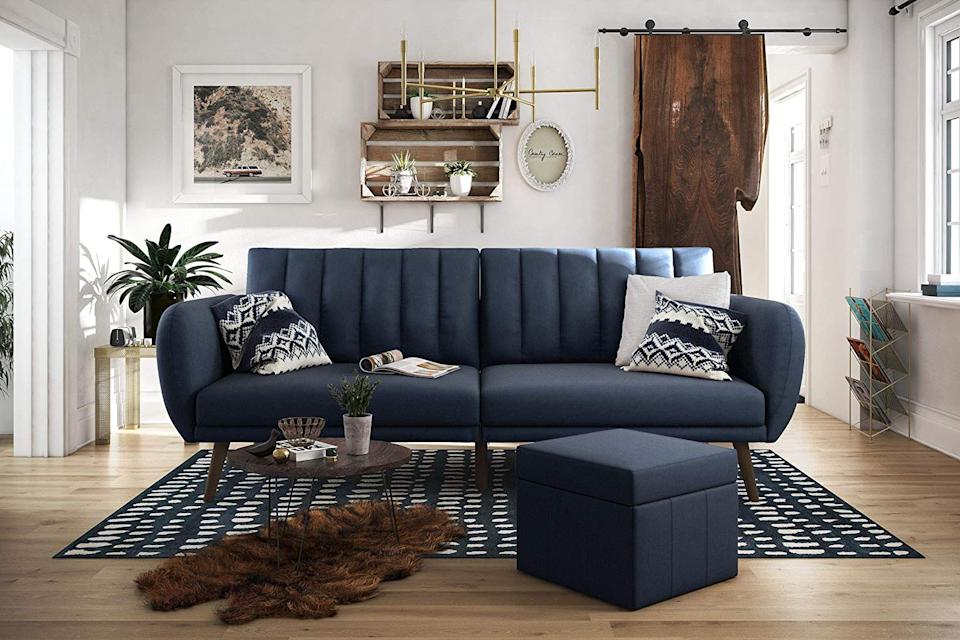 """<h3><a href=""""https://www.amazon.com/Novogratz-Brittany-Sofa-Futon-Linen/dp/B01LY1WBQN/ref=sr_1_181"""" rel=""""nofollow noopener"""" target=""""_blank"""" data-ylk=""""slk:Novogratz Brittany Sofa Futon"""" class=""""link rapid-noclick-resp"""">Novogratz Brittany Sofa Futon</a> </h3><br>Don't shy away from a statement sofa just because your space is limited — this #1 Bestseller on amazon pulls double-duty as a futon for housing company when a """"guest room"""" is out of the spatial question.<br><br><strong>Novogratz Collection</strong> Brittany Sofa Futon - Navy Linen [Futon], $, available at <a href=""""https://www.amazon.com/Novogratz-Brittany-Sofa-Futon-Linen/dp/B01LY1WBQN/ref=sr_1_181"""" rel=""""nofollow noopener"""" target=""""_blank"""" data-ylk=""""slk:Amazon"""" class=""""link rapid-noclick-resp"""">Amazon</a>"""