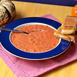 """Photo: Feed Your Soul<br> Tomato Bisque with a Slight Kick <br><br> Diced tomatoes with green chiles give a kick to this homemade tomato soup. Just add grilled cheese. Uh, we mean salad. <br><br> Recipe: <a href=""""http://chefpeterskitchen.blogspot.com/2012/10/tomato-bisque-with-slight-kick.html"""" rel=""""nofollow noopener"""" target=""""_blank"""" data-ylk=""""slk:Tomato Bisque with a Slight Kick"""" class=""""link rapid-noclick-resp"""">Tomato Bisque with a Slight Kick</a>"""