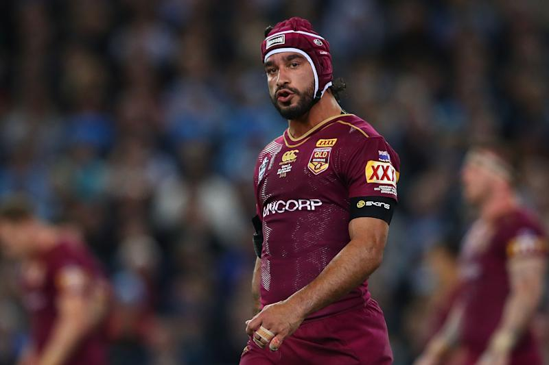 Johnathan Thurston of the Maroons reacts during game two of the State Of Origin series.