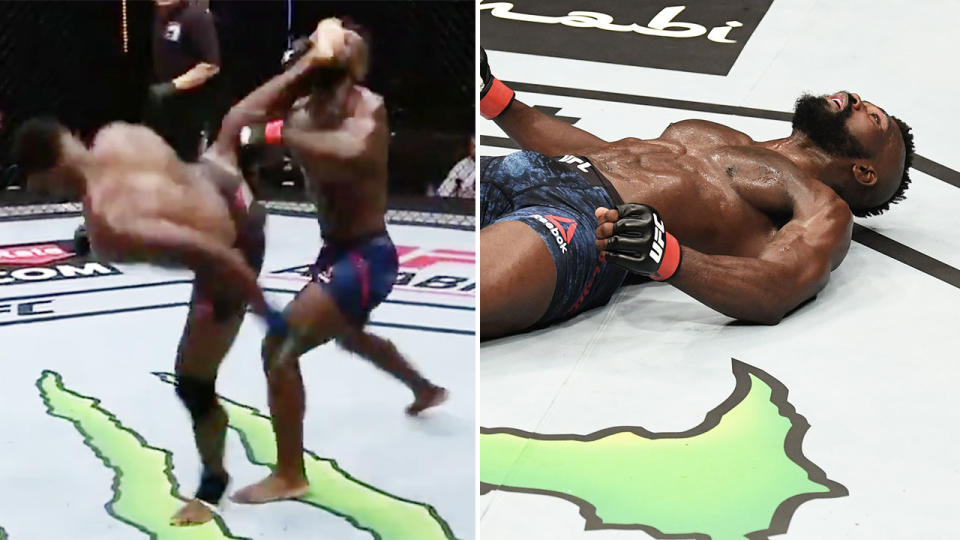 Joaquin Buckley, pictured here producing one of the craziest knockouts in UFC history.