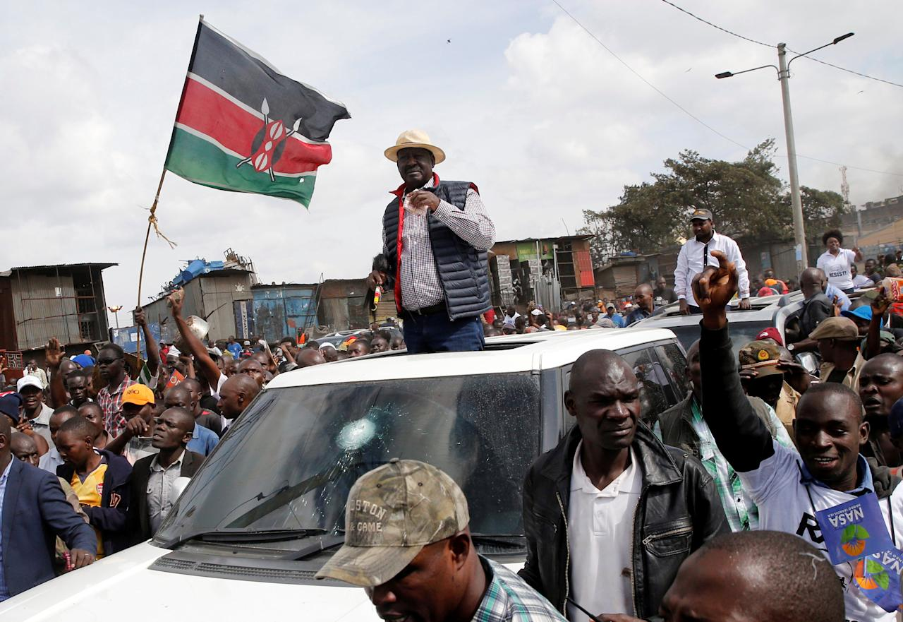 <p>Kenyan opposition leader Raila Odinga attends a protest in Nairobi, Kenya, Nov. 17, 2017. (Photo: Thomas Mukoya/Reuters) </p>