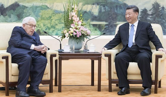 Chinese President Xi Jinping with former US secretary of state Henry Kissinger in Beijing on Friday. Photo: Xinhua