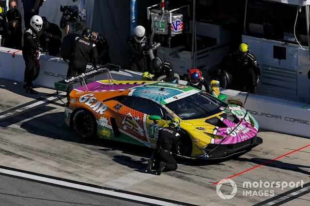 "#19 GEAR Racing powered by GRT Grasser Lamborghini Huracan GT3, GTD: Christina Nielsen, Katherine Legge, Tatiana Calderon, Rahel Frey, pit stop <span class=""copyright"">Barry Cantrell / Motorsport Images</span>"