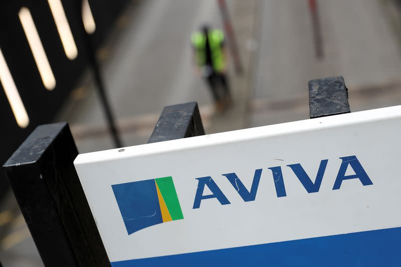 FILE PHOTO: The Aviva logo sits outside the company head office in the city of London