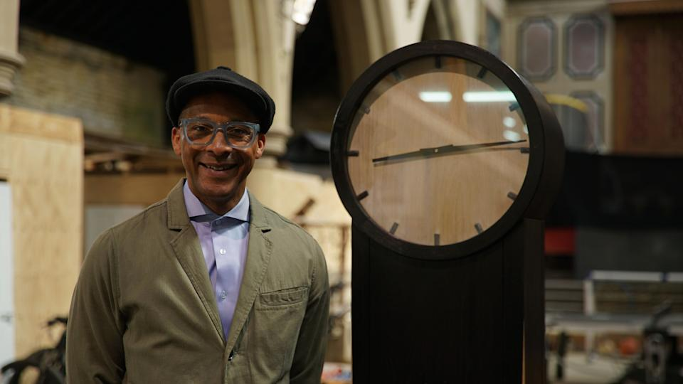 Programme Name: Jay's Yorkshire Workshop - TX: 15/09/2021 - Episode: Jay's Yorkshire Workshop - Ep4 (No. 4) - Picture Shows: Jay Blades with grandfather clock  - (C) Ricochet - Photographer: Andy Linfield
