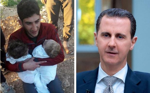 Left: Abdulhamid al-Youssef, 29, cries as he holds his twin babies who were killed during a suspected chemical weapons attack, in Khan Sheikhoun; Right: Bashar al-Assad during an interview with AFP this week