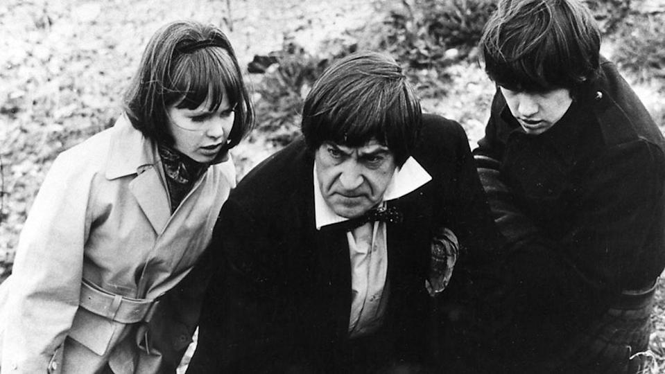 """From left, Wendy Padbury's Zoe, Patrick Troughton's Second Doctor, and Frazer Hines' Jamie look concerned in the season 6 Doctor Who story """"The War Games"""""""