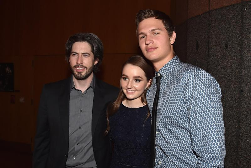 """Director Jason Reitman, actress Kaitlyn Dever and actor Ansel Elgort attend the after party for the premiere of Paramount Pictures' """"Men, Women & Children"""" at The Directors Guild Of America on September 30, 2014 in Los Angeles, California (AFP Photo/Alberto E. Rodriguez)"""