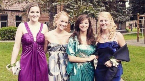 PHOTO: From left to right, Grace Baldridge of California, Ariane Harper of Canada, Cecilia Jeppsson of Chile, Juliana Bambridge of London, at their senior prom in the country of Belgium in 2009. (Grace Baldridge)