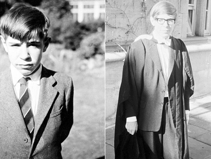 <em>Prof Hawking in his St Albans home aged 12 (left) and at his Oxford graduation (right) (SWNS)</em>