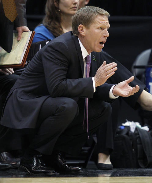 Gonzaga head coach Mark Few urges his players on in the first half during a second-round game against Southern University in the NCAA college basketball tournament in Salt Lake City, Thursday, March 21, 2013. (AP Photo/George Frey)