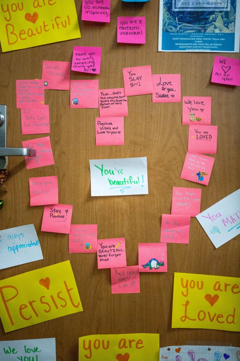 Students at Central Michigan University decorated a classmate's door with kind notes after someone left a hate note on her door