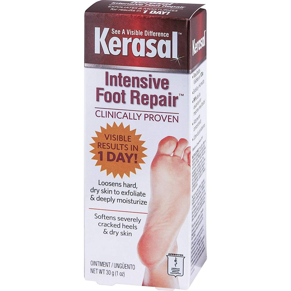 """<p>Although the packaging may look reminiscent of an """"As Seen On TV"""" ad, don't be quick to judge a treatment by the box it comes in — after all, the results are what matter. Shah recommends Kerasal's Intensive Foot Repair because it contains salicylic acid and urea for to exfoliate, as well as <a href=""""https://www.allure.com/story/what-is-glycerin-skin-care-ingredient?mbid=synd_yahoo_rss"""" rel=""""nofollow noopener"""" target=""""_blank"""" data-ylk=""""slk:glycerin to hydrate the skin"""" class=""""link rapid-noclick-resp"""">glycerin to hydrate the skin</a>. Kerasal claims the treatment yields results in as little as one day, which is definitely ideal should you have a special occasion and need to slough away dead skin in a pinch.</p> <p><strong>$8</strong> (<a href=""""https://www.amazon.com/Kerasal-Intensive-Repair-Exfoliating-Moisturizer/dp/B000GCNC2U"""" rel=""""nofollow noopener"""" target=""""_blank"""" data-ylk=""""slk:Shop Now"""" class=""""link rapid-noclick-resp"""">Shop Now</a>)</p>"""