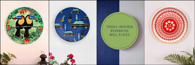 A dozen decorative wall plates that serve as travel inspiration or memory triggers of vacations well spent.