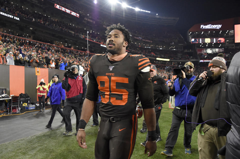 CLEVELAND, OHIO - NOVEMBER 14: Defensive end Myles Garrett #95 of the Cleveland Browns walks off the field after being ejected from the game during the second half at FirstEnergy Stadium on November 14, 2019 in Cleveland, Ohio. The Browns defeated the Steelers 21-7.  (Photo by Jason Miller/Getty Images)
