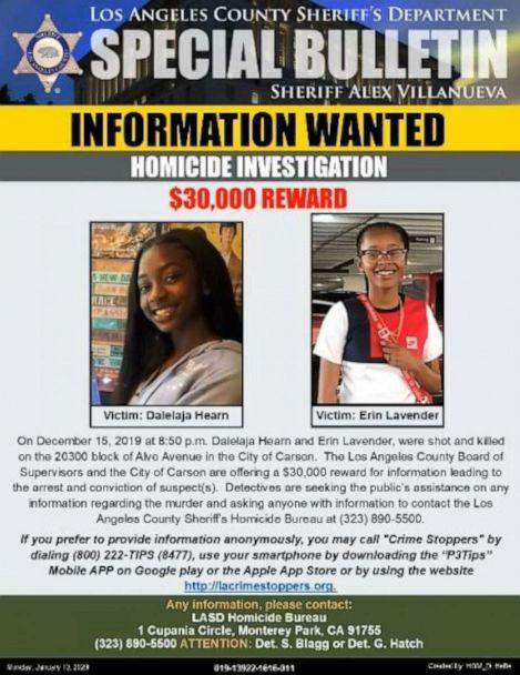 PHOTO: Erin Lavender, 19, and Dalelaja Hearn, 17, were shot dead in Carson, Calif., Dec. 15, 2019. Police are asking the public to help find their killers. (Los Angeles County Sheriff's Department)