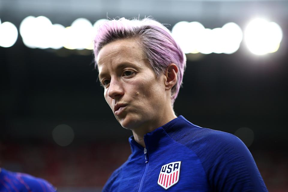 LYON, FRANCE - JULY 02: Megan Rapinoe of the USA looks on prior to the 2019 FIFA Women's World Cup France Semi Final match between England and USA at Stade de Lyon on July 02, 2019 in Lyon, France. (Photo by Joosep Martinson - FIFA/FIFA via Getty Images)