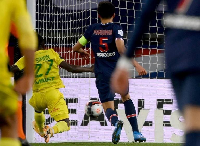 Moses Simon inflicted a fourth home defeat on Paris Saint-Germain with his winning goal