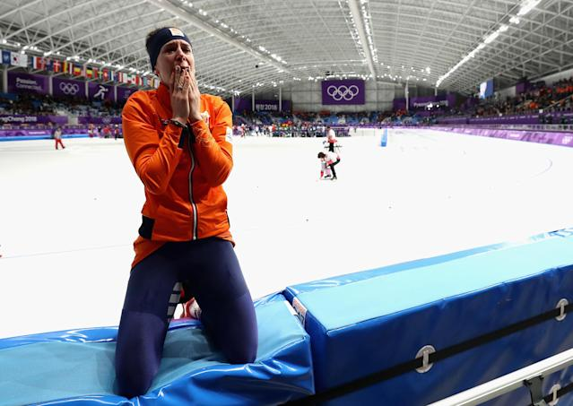 <p>Dutch dominance in speed skating continued as Ireen Wust took gold in the 1,500m women's long track. Japan's Miho Takagi took silver, while Wust's Dutch teammate Marrit Leenstra won bronze. (Getty) </p>