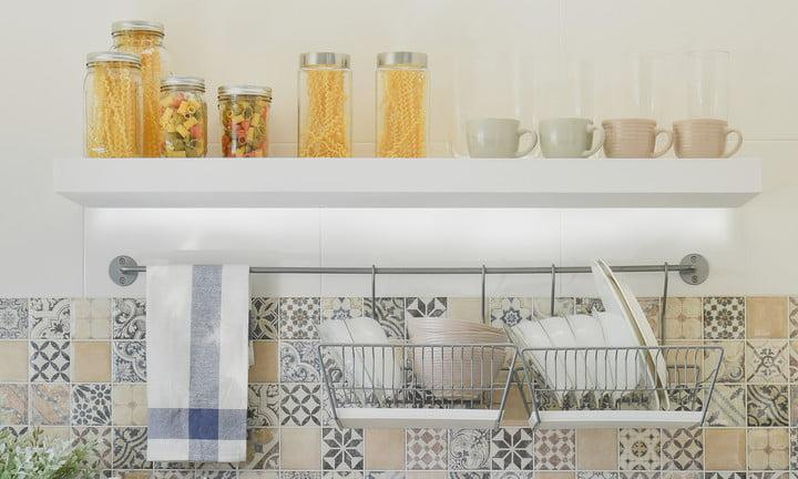 ellumi bacteria light modern kitchen with ceramic kitchenware and utensils on the shelf