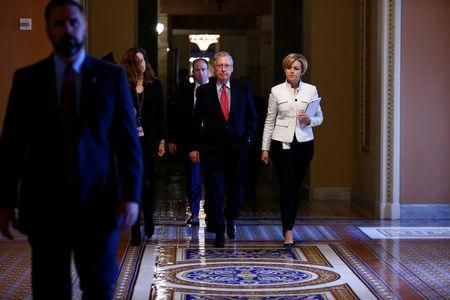 U.S. Senate Majority Leader Mitch McConnell walks to the Senate Chamber on Capitol Hill in Washington, U.S., April 6, 2017. REUTERS/Eric Thayer
