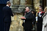 <p>Being formally welcomed as Lord High Commissioner in the Ceremony of the Keys on the forecourt of the Palace of Holyroodhouse on May 21, 2021 in Edinburgh, Scotland.</p>