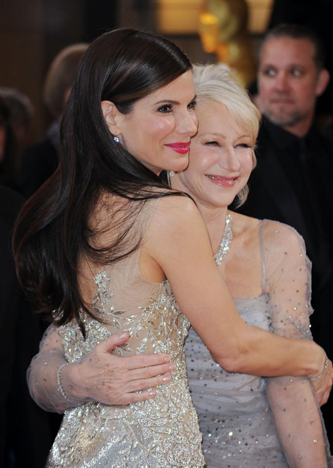 Sandra Bullock and Helen Mirren arrive at the 82nd Annual Academy Awards held at Kodak Theatre on March 7, 2010 in Hollywood, California.