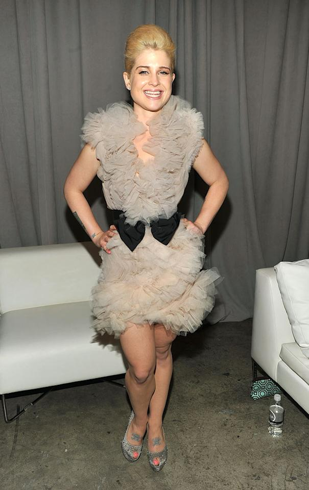 "Is it just us, or does Kelly Osbourne's dress look like it's constructed of lint-adorned dryer sheets? Theo Wargo/<a href=""http://www.wireimage.com"" target=""new"">WireImage.com</a> - September 15, 2010"