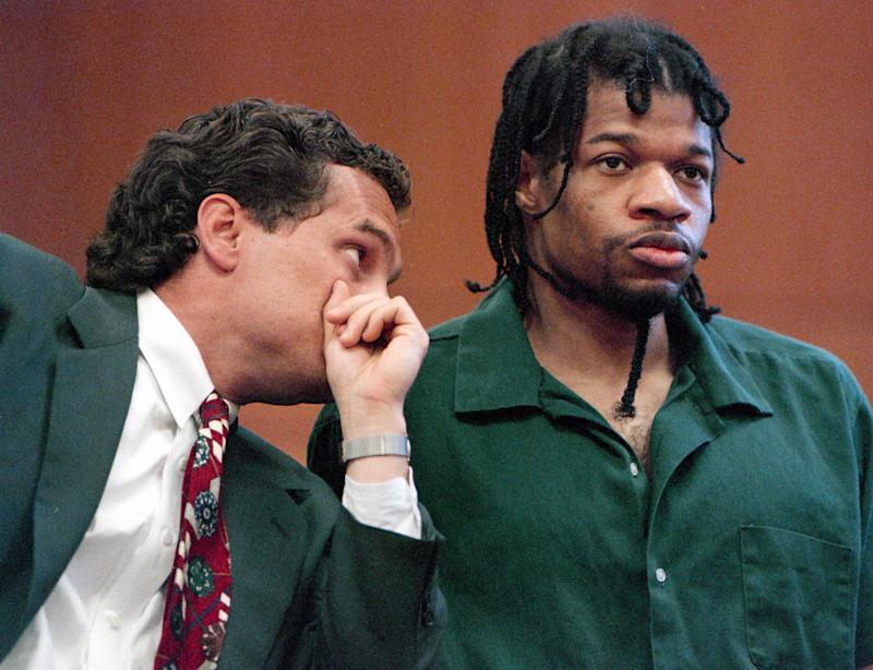 Convicted killer Christopher Scarver listens to one of his attorneys, Daniel Patrykus, during a special hearing on May 15, 1995, in Portage, Wis. At the hearing, Scarver changed his not guilty plea in the beating death of serial killer Jeffrey Dahmer and Jesse Anderson, to no contest on two first degree intentional homicide charges. (AP Photo/Morry Gash)