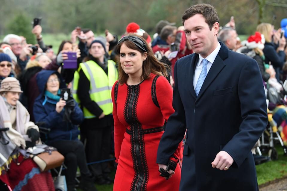 Britain's Princess Eugenie of York (L) and her husband Jack Brooksbank arrive for the Royal Family's traditional Christmas Day service at St Mary Magdalene Church in Sandringham, Norfolk, eastern England, on December 25, 2018. (Photo by Paul ELLIS / AFP)        (Photo credit should read PAUL ELLIS/AFP via Getty Images)