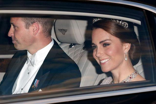 Prince William and Kate Middleton attend astate banquet at Buckingham Palace. (Photo: Max Mumby/Indigo/Getty Images)