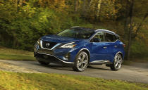 This undated photo provided by Nissan shows the 2021 Nissan Murano, a midsize SUV that offers an average savings of about 9% in August. (Kevin Pearce/Nissan North America, Inc. via AP)