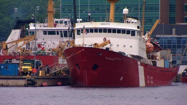 CCGS Hudson this week at its base at the Bedford Institute of Oceanography. The ship experienced a generator failure that forced it back to base earlier this year but it has returned to service.  (CBC - image credit)
