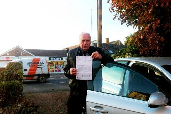 Mr Farthing with his letter from the DVLA.