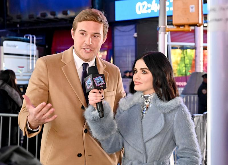 Lucy Hale interviewing Peter Weber on New Year's Eve