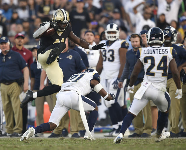 "<a class=""link rapid-noclick-resp"" href=""/nfl/players/30180/"" data-ylk=""slk:Alvin Kamara"">Alvin Kamara</a> with another big game and a look around the rest of the league in Week 12 (AP Photo)."
