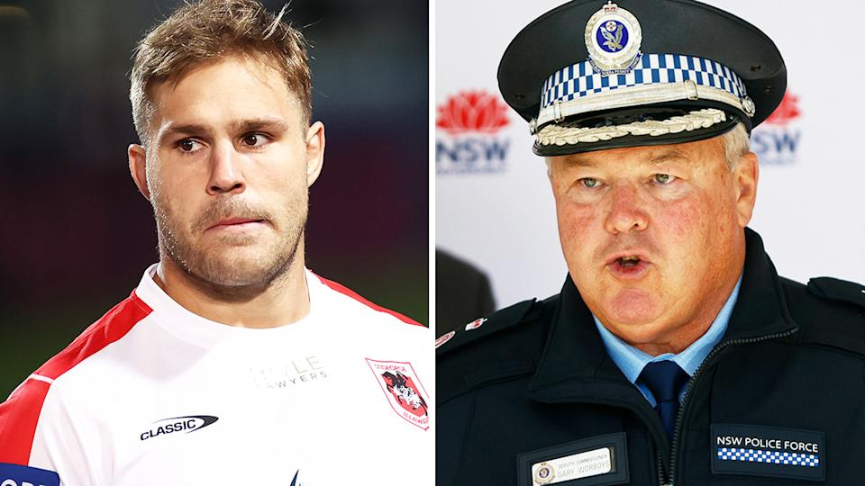 Jack de Belin has been fined after attending a house party hosted by a teammate, in a move NSW police deputy commissioner Gary Worboys labelled as 'arrogant'.