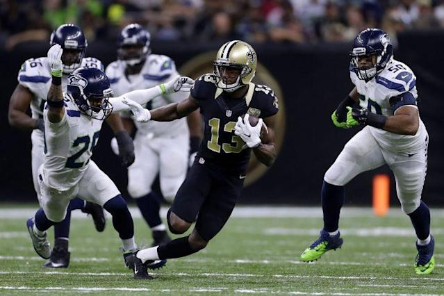 """<a class=""""link rapid-noclick-resp"""" href=""""/nfl/players/26265/"""" data-ylk=""""slk:Michael Thomas"""">Michael Thomas</a> gives first-round value in the second round. (Getty)"""